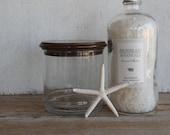 Vintage Apothecary Jar // Glass Jar with Wood Lid // Bathroom Storage