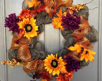 Fall wreath, brown and orange deco mesh wreath, sunflowet wreath, brown wreath, orange and brown wreath, purple wreath, fall decomesh wreath