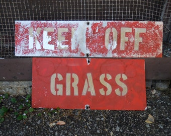 Vintage Metal signs KEEP OFF GRASS red white lawn salvage Home garden
