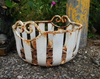 Vintage wrought iron basket White Chippy paint flower planter French Country Garden Home