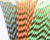 Gold Stripe Straws Mint Coral or Blue-package of 25