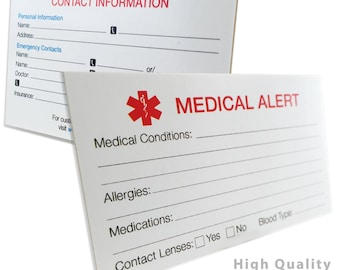 Medical Alert Identification Card, Thick 400lb Card Stock - MYIDCARD