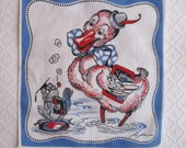 Vintage Signed Tom Lamb Child's Handkerchief, Frog and Pelican