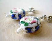Painted Porcelain Post Earrings ~ Floral, Pearl, Boho, Gift for Her