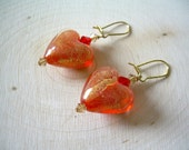 Fire Hearts Earrings ~ Heart, Valentine, Hand Painted, Crystal, Gift for Her