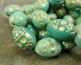 Turquoise Czech Pressed Glass Easter Egg Decorative Gold Etched Inlay Beads 2pc 20x14mm