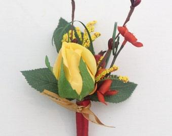 Groom, Groomsmen Wedding Boutonniere - Yellow Rose Boutonniere, Goldenrod, Fall Themed Boutonniere, Father of the Bride, Fall Wedding