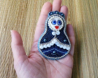 Bead embroidery Brooch matreshka doll Gift  blue lampwork pupa crystals Russian ethnic