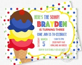 Ice Cream Invitation, Ice Cream Birthday Invitation, Ice Cream Party Invite, Primary Birthday Invitation, Boy Birthday Invitation