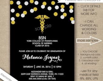 confetti nurse graduation invitations free shipping digital or printed bsn rn lpn - Graduation Ceremony Invitation