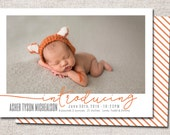Birth announcement, baby boy announcement, baby girl announcement, baby announcement, modern birth announcement, printable (Introducing)