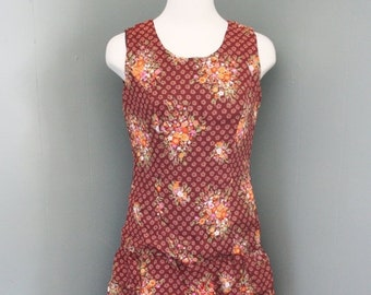 30% off sale // Vintage 50s Vera Mont Paris Floral Sun Dress - Women S - Sleeveless Ruffle