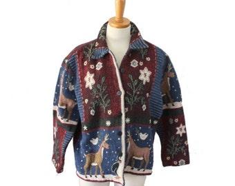 30% off sale // Vintage 90s Christmas Reindeer Penguin Print Tapestry Jacket // Women M L, Keren Hart