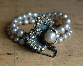 Vintage signed Miriam Haskell 1950s triple strand baroque pearl bracelet