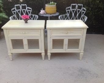 VINTAGE NEOCLASSICAL NIGHTSTANDS / Pair of Neoclassical French Provincial Nightstands / Yellow White Nightstands at Retro Daisy Girl