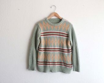 Funky Fuzzy Sweater Striped Diamond Retro Cozy Light Green Medium