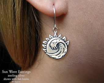 Sun Wave  Earrings Sterling Silver Hand Carved & Cast Fish Hook or Post Ocean Wave Sun