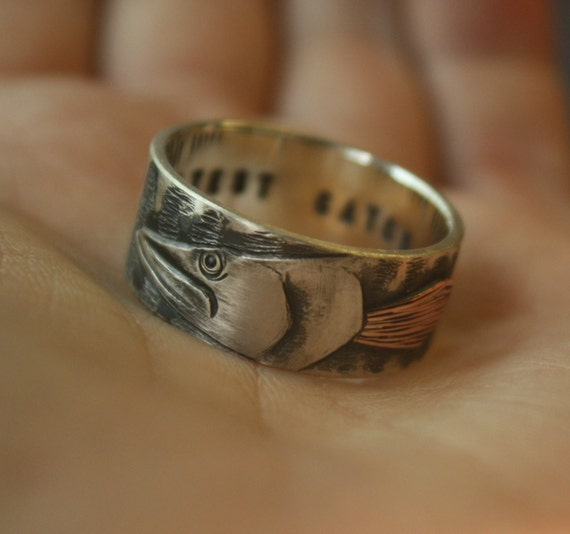 Musky fish fishing ouroboros engraving wedding band ring for Fishing wedding band