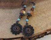 Bohemian Dangle Earrings, Copper Earrings, Long Earrings