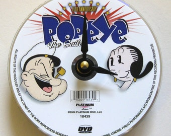 DVD clock.  Popeye clock. Popeye the Sailor. Recycled DVD. Movie clock.