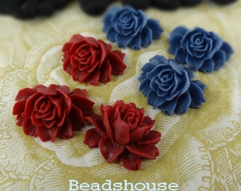 20% off 34S-00CA  6pcs Small Cabbage Rose Cabochon