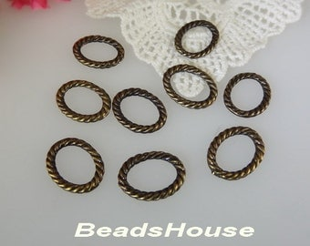 24pcs - (12mm x 16mm ) Oval Twisted Jump Ring in Antique Brass,Nickel Free