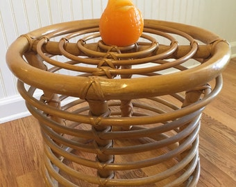 ROUND RATTAN STOOL Round Rattan Table Vintage Rattan, Wicker Drum Table or Footstool, Beach Decor, Mid Century Modern at Modern Logic