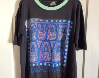1980's Rude Dog Radical Pooch Distressed Neon Print Skateboard T-shirt looks size XL all cotton