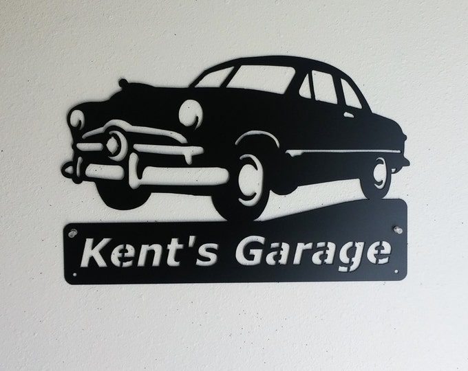 1949 Ford - Shoebox Ford - Personalized, Man Cave, Wall Decor, Classic, Garage Sign, Satin Black, Car Art