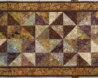 Brown Batik Quilted Tablerunner Modern Patchwork OOAK design