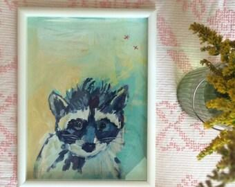 Little Raccoon: Unframed Acrylic Painting