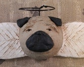 Pug Angel Wall Art, OOAK, handmade paper mache, Pug Angel