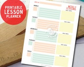 Printable lesson planner. Weekly lesson planner with goals. Print at home lesson PDF file. LP530