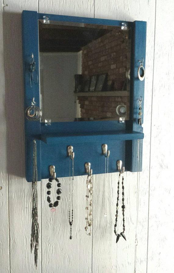 Foyer Mirror Jewelry : Mirror with shelf jewelry organizer by madewiththese hands