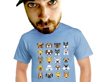 pixelated dog show shirt dog lovers mens t-shirts gift for techie geeks dog owner animal fans of dogs hip nerdy funny apesnort t-shirt s-4xl