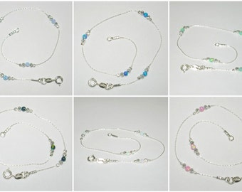 Sterling Silver 925 Chain, Laser Cut and OPAL Beads ANKLET Light Blue, Dark Blue, Light Green, Dark Green, White, Pink. Your size. Free Ship
