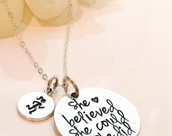 Runners Necklace-Marathon Necklace-Half Marathon Necklace-Full Marathon Necklace- Runners Necklace-She believed she could so she did gift