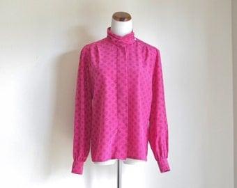 Vintage Pendleton Blouse, Pink Geometric Shirt, Turtleneck Blouse, Long Sleeve Secretary Shirt, Button Down Shirt, 80s Blouse, Large