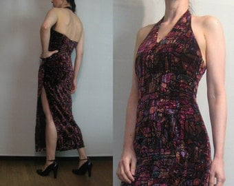 80s STAINED GLASS VELVET Vintage Wine Red Green Crushed Velvet Halter Neck Fitted Wiggle Maxi Dress xxs xs/s Small 1970s 1980s