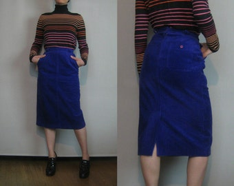 80s ROYAL PURPLE CORDUROY vtg Pencil Wiggle Body Con Midi Mini Skirt with Pockets xs Small 1980s
