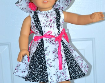 18 Inch Doll Black and White Sleeveless Floral Print Dress, Matching Floppy Brimmed Hat and Panties by SEWSWEETDAISY