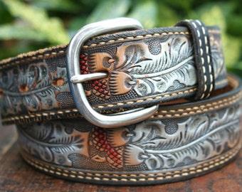 Vintage Brown Leather Acorn Belt 34 M