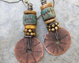 The High Road artisan dangle earrings rustic boho turquoise polymer clay beads copper discs brass beads