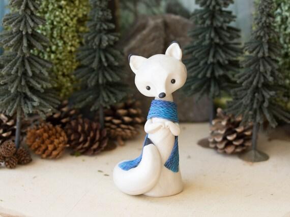 Arctic Fox Figurine with a Blue Stockinette Scarf by Bonjour Poupette