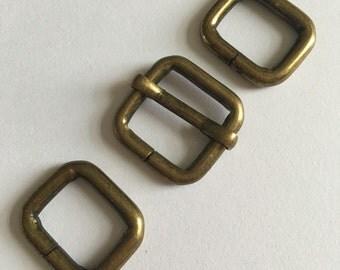 """5 sets , 3/8 inch Moveable Bar Slides,Strap Adjuster Slides, antique brass finish,rectangle loops,3/8"""",bag hardware,purse hardware,15mm"""