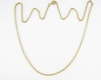Vintage 9 Carat Yellow Gold Chain, Heavy Link Gold Pendant Chain or Necklace. 52.5 cm / 20.66 inches, 5.25 grams.