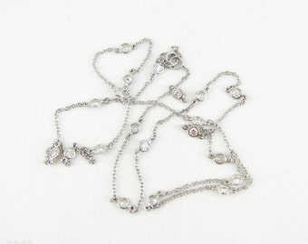 Sterling Silver & Paste Necklace, Long By The Yard Style Rhinestone Diamanté Station Necklace. 67 cm / 26.4 inches.