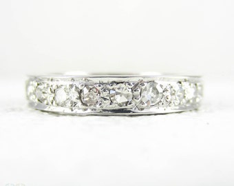 Vintage Diamond Eternity Ring, Art Deco Full Eternity Wedding Ring, Hand Engraved Sides 0.77ctw. 18 Carat White Gold, Size N / 6.75.