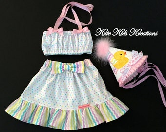 Toddler Girl Birthday Hat, Ruffle Skirt and Halter Top, First Birthday, Rubber Duck, Size 12M, Photo Prop, Ready to Ship