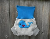 Upcycled Wool Soaker Cover Diaper Cover With Added Doubler Pale Gray /Turquoise With Whale Applique MEDIUM 6-12M Kidgogreen